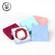 120pcs Valentines Day Gifts Boxes Packages Cardboard Bracelet Boxes Square Mixed Color about 8.8cm wide, 8.8cm long, 2.2cm high