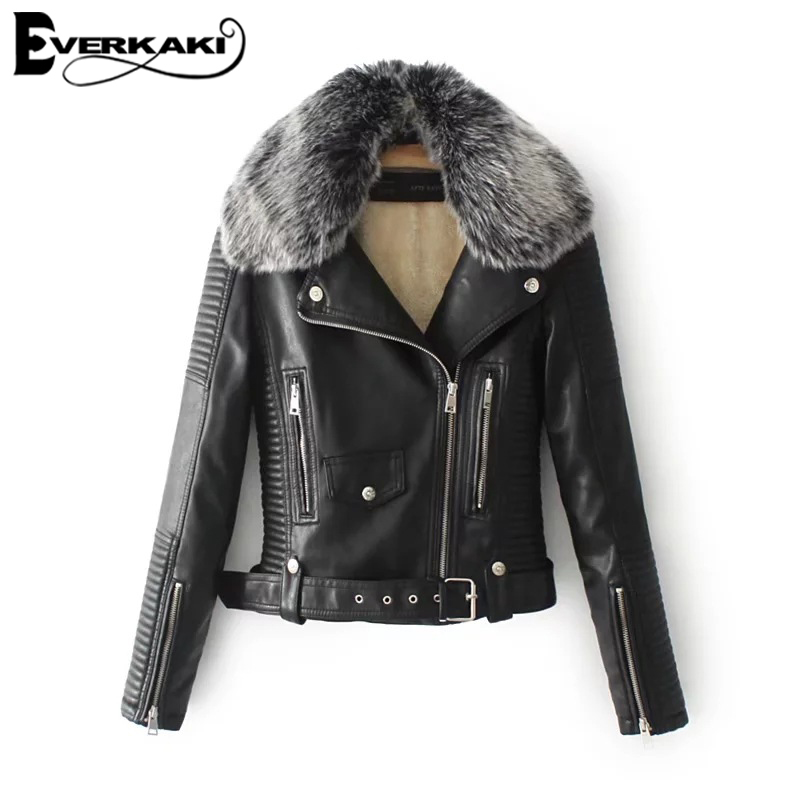 Everkaki Women Faux Leather Faux Fur Jacket Coats Fur Collar Zippers Cool Motorcycles Jackets Streetwear 2018 Autumn New Arrival