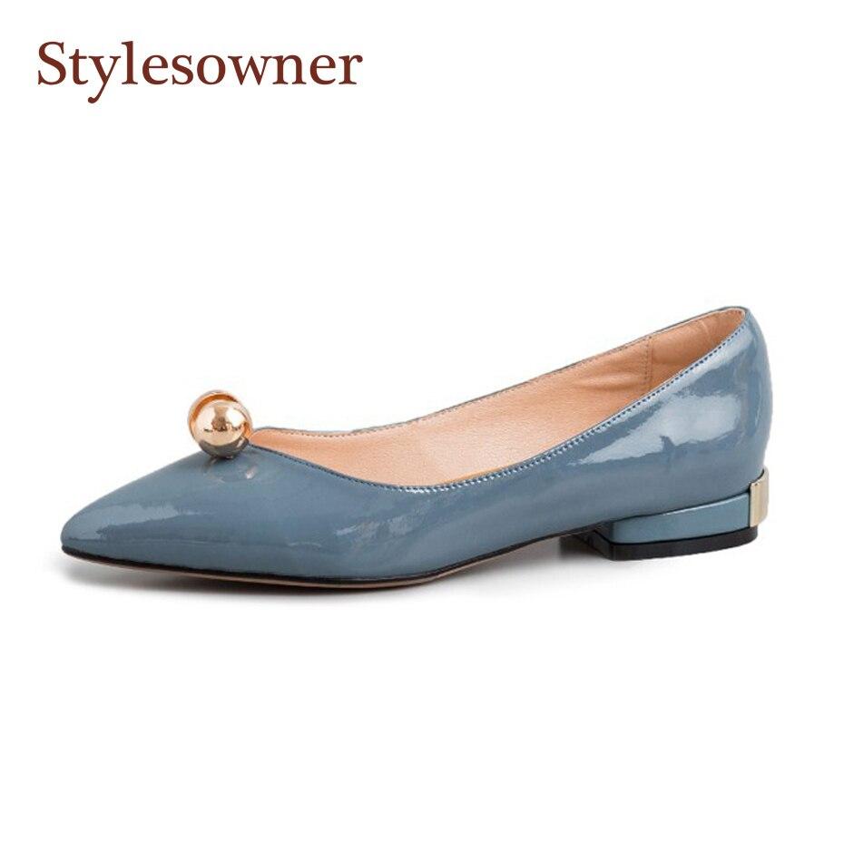 Stylesproprio 2019 printemps chaussure plate pour femme en cuir verni perle décor peu profond bouche chaussure doux rose noir bleu sans lacet Sapatos