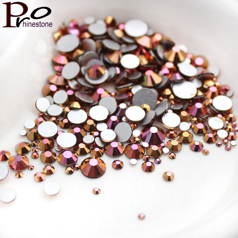 Mix Size Gold Rose AB Nail Art Rhinestone SS3-SS30 10Size Luxury 3D Nail Decoration for DIY strass glitters Non HotFix crystals