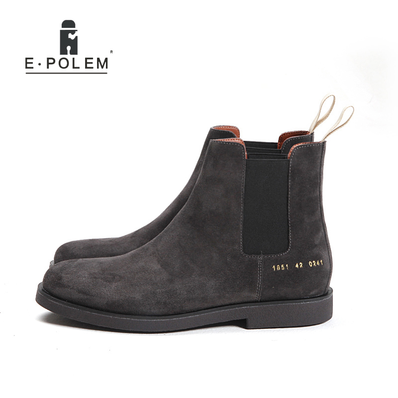 Fashion The Casual Winter Chelsea Boots for Men Genuine Cow Suede Leather Ankle Boots Pointed Toe Flat Sole Sleeve Shoes front lace up casual ankle boots autumn vintage brown new booties flat genuine leather suede shoes round toe fall female fashion