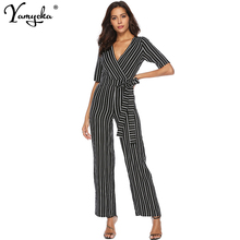 Elegant Sexy One piece Jumpsuit women V neck stripe bodysuit Sashes Belted Leotard overalls Casual bodycon black jumpsuit Long black zip front v neck long sleeves bodycon jumpsuit