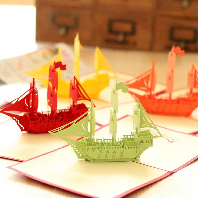 Creative 3D Paper Pop Up Sailboat Vintage Graduation Birthday Greeting Card Gift Wishes Postcards Crafts with Envelope 3pcs/lot creative gifts 3d pop up card greeting
