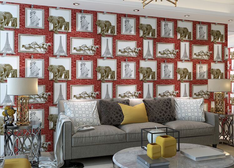 junran 3D America style vintage Nostalgic brick photo pictures wallpaper in special words digit wallpaper for living room