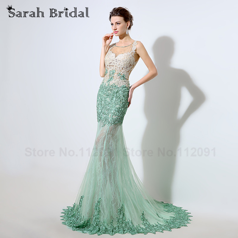 Sexy Backless Green Lace Evening Dresses Sleeveless 2016 Real Picture Floor Length Beading Formal Prom Gowns vestidos de noche