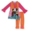 2016 moda ropa de bebé conjuntos niños orange pantalones de raya clásica multi color patchwork toddler girls boutique trajes f051