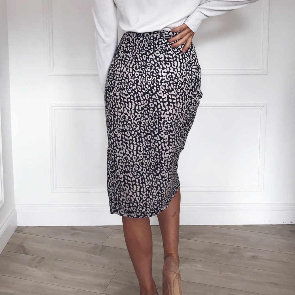 2019 nowo moda kobiety lato dorywczo moda elegancka szykowna, we wzorze lamparta bandaż Bodycon zasznurować podział druku bandaż krótka spódnica 50