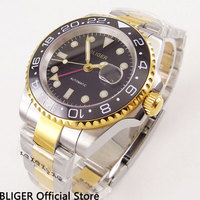 BLIGER 40 MM Zwart Gezicht heren Horloge Keramische Bezel GMT Functie Vergulde Horlogekast Sapphire Automatische Beweging Polshorloge