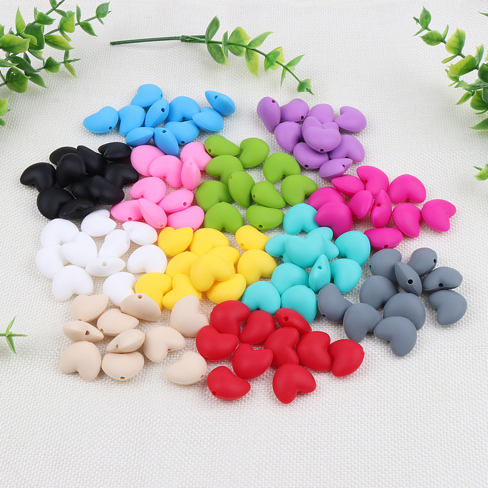 TYRY.HU 20pcs/lot LOVE Heart Beads Baby Teether Silicone Teething Beads For Necklace DIY Baby Pacifier Chain  BPA Free