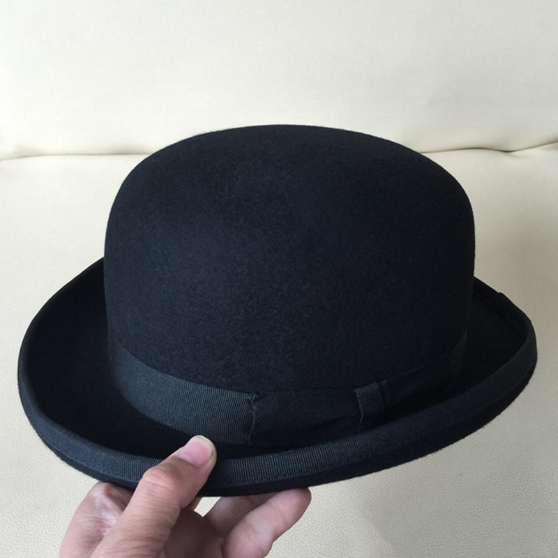 Black Derby Bowler Hat For Men Women Wool Felt Top Hat Vintage Dome President Cosplay Magician Cap Party Fedoras