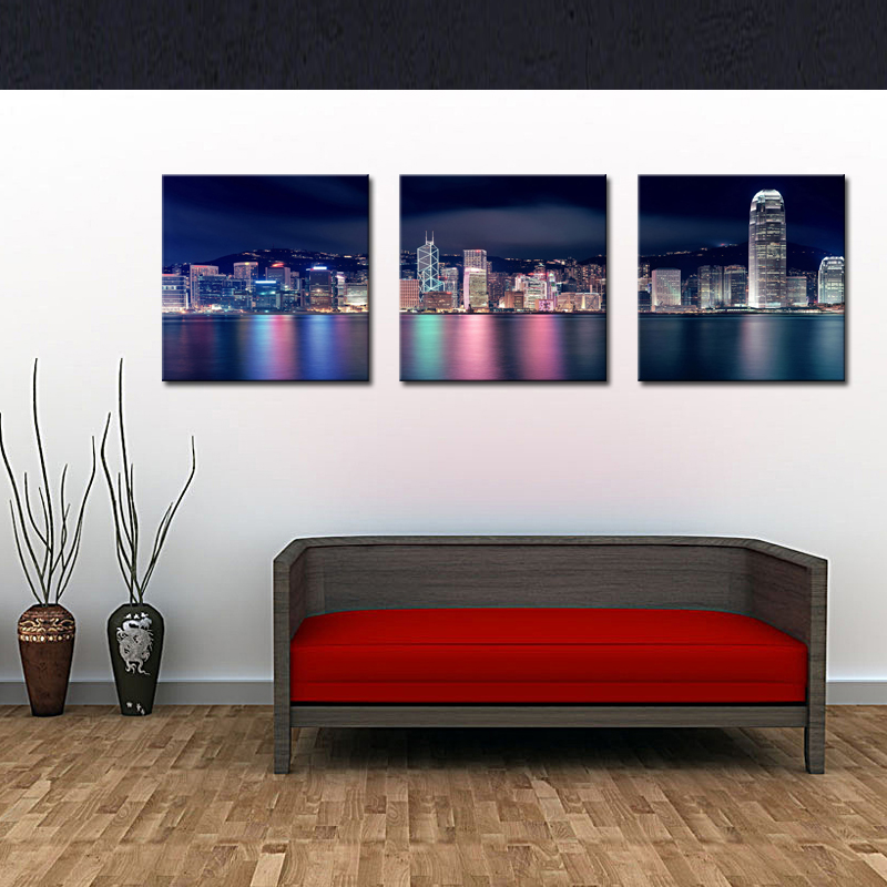 3 Picture Combination City Paintings Wall Art Decor Hong