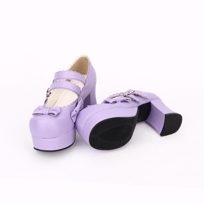 Frauen Kappe Pumpen Lolita Schuhe Süße 35 Impressum High Größe Heels Pu Angelic Runde 46 Bowknot Leder 7IP0Agw