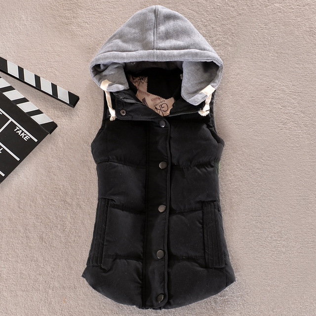 Hot Women Autumn/Winter Fashion Waistcoat Hooded Thick Warm Down Cotton Wool Collar Vest Female Large Size Jacket&Outerwear 55D1