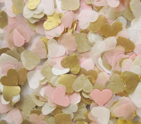 Free ship lot of 30g baby pink gold white tissue paper heart confetti wedding birthday party table decoration pinata fillers