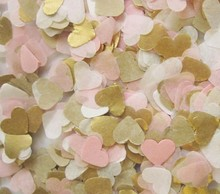 Free ship lot of 15g baby pink gold white tissue paper heart confetti wedding birthday party table decoration pinata fillers