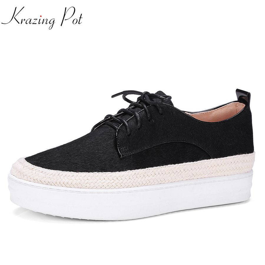 Krazing Pot 2018 high street fashion horsehair shoes women round toe lace up women thick bottom wedges increased pumps shoes L73