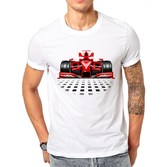 Hot Punk Emo T Shirts Men Short Sleeve F1 Formula 2017 Novelty