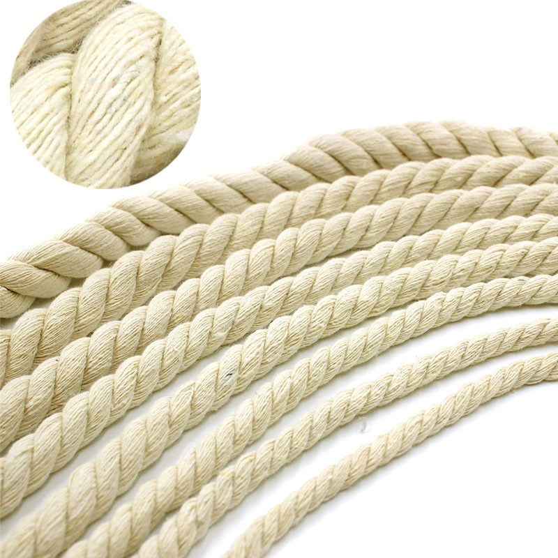 4mm-20mm Beige Cotton Rope Thick Cotton Cords For Home Decorate DIY Handmade Strengthen Accessories Rope 10 Meters girl
