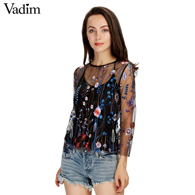 aab6319e694 Vadim women sexy see through floral embroidery mesh shirts transparent long  sleeve blouse female casual brand tops blusas LT1810