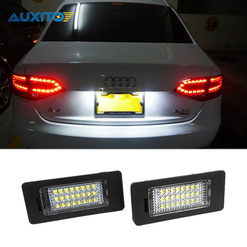 2Pcs Car LED License Plate Lights SMD3528 24 LED Number Plate Lamp For Audi A4 S4 B8 A5 S5 TT RS Q5 Volkswagen VW Passat 5D R36 2pcs car led license plate lights 12v white smd3528 led number plate lamp bulb kit for ford focus c max 03 07