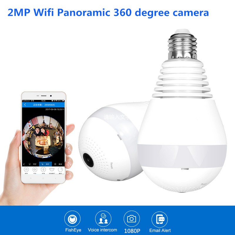все цены на 1080P 360 degree Wireless IP Camera Bulb Light FishEye Smart Home CCTV 3D VR Camera 2MP Home Security WiFi Camera Panoramic cam