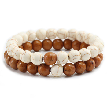 2Pcs/set Couple Distance Beaded Bracelet Natural Stone Strand Bracelets Homme Charm Yoga Jewelry Gifts for Women Men Best Friend 1