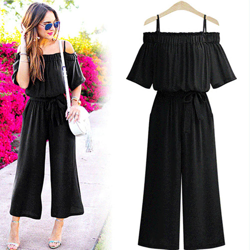 Women Summer Jumpsuits 2018 Women Jumpsuits Sexy Slash Neck Female Rompers Adjusted Waist wide leg jumpsuit Plus Size L 4XL 1