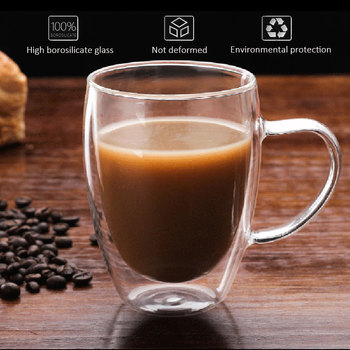 Creative Glass Cup Coffee Mugs Tea Cup Double Wall High Borosilicate Glass Beer Milk Clear Container kleider weit