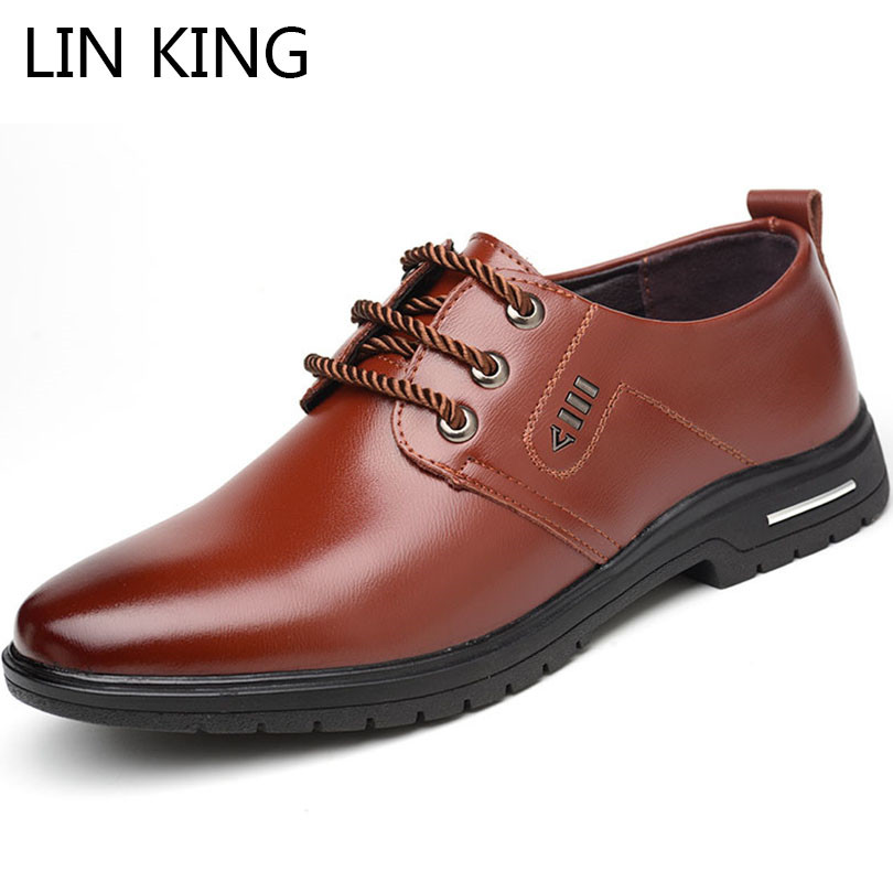 LIN KING Fashion Lace Up Casual Leather Shoes For Men Shallow Business Office Dress Shoes Pointed Toe Oxfords Male Formal Shoes pointed toe fashion winter men formal shoes genuine leather cow lace up dress shoes wedding shoes male business work shoes