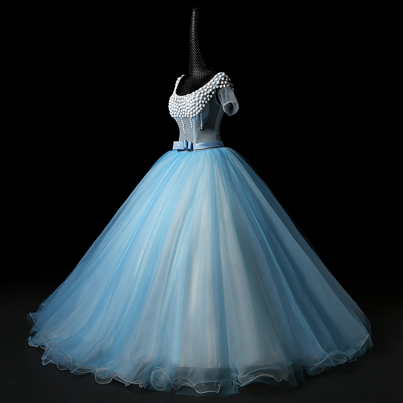 100%real see through light blue top short sleeve court ball gown ...
