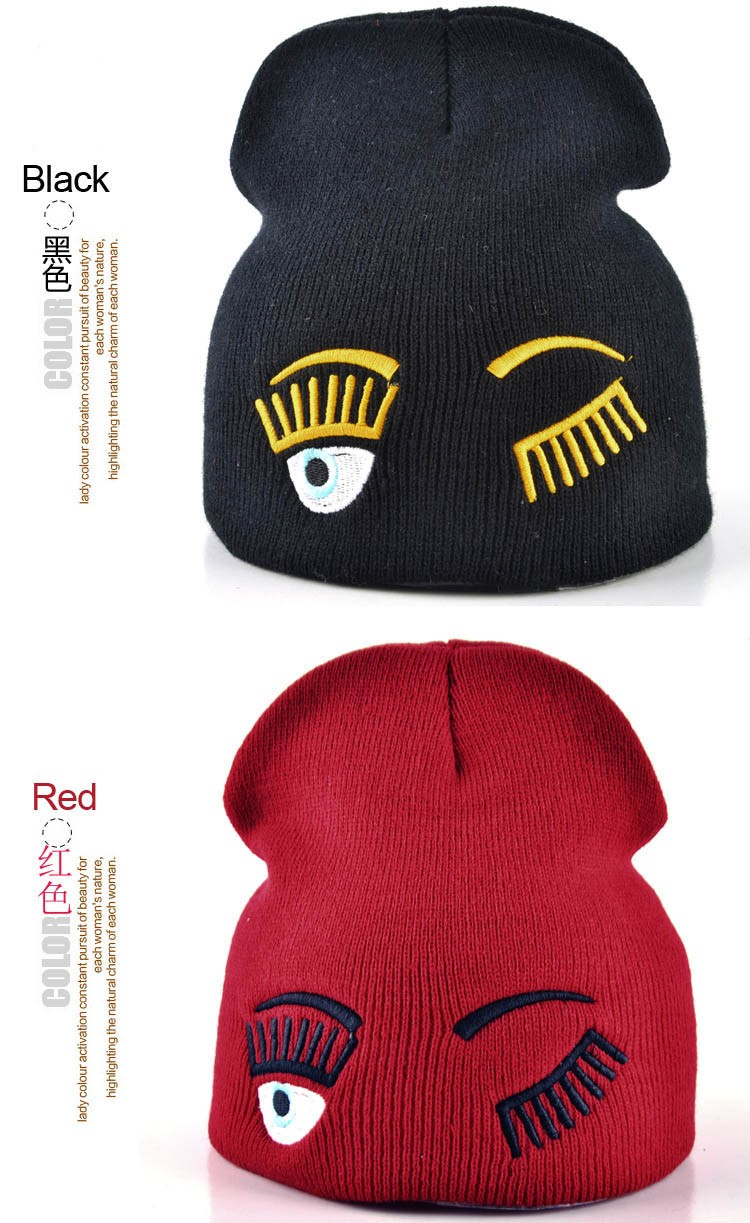 2017 new winter hats for woman striped solid caps girl Knit cap woman eye lashes facial expression beanies gorro 12