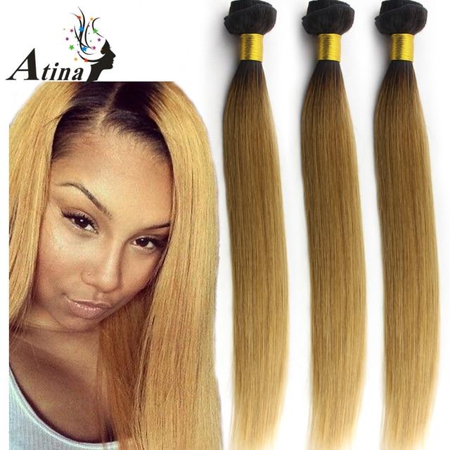 1b 27 Dark Roots Honey Blonde Brazilian Hair Weave Bundles Two Tone