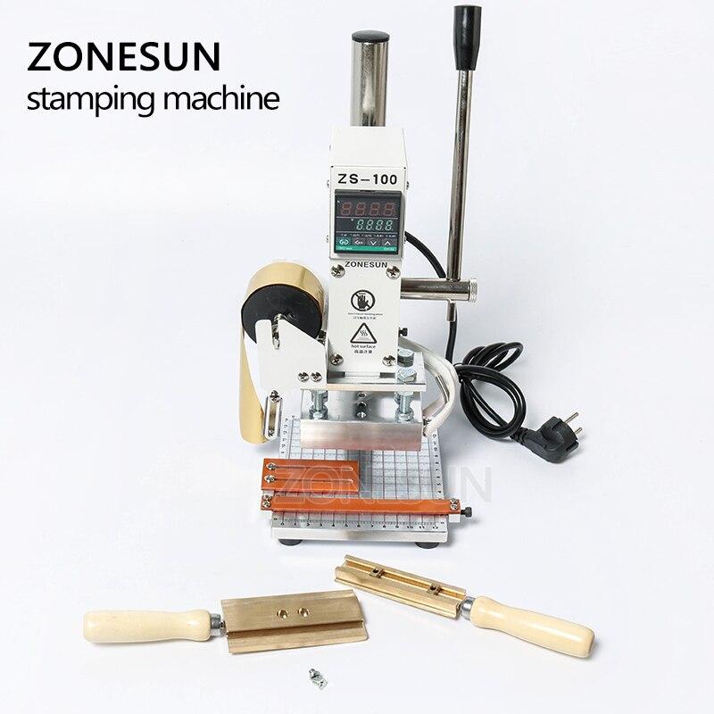 ZONESUN estampage à chaud Machine à bronzer manuel machine à rembosser bricolage artisanat en bois portefeuille PVC carte en cuir papier sac à main - 5
