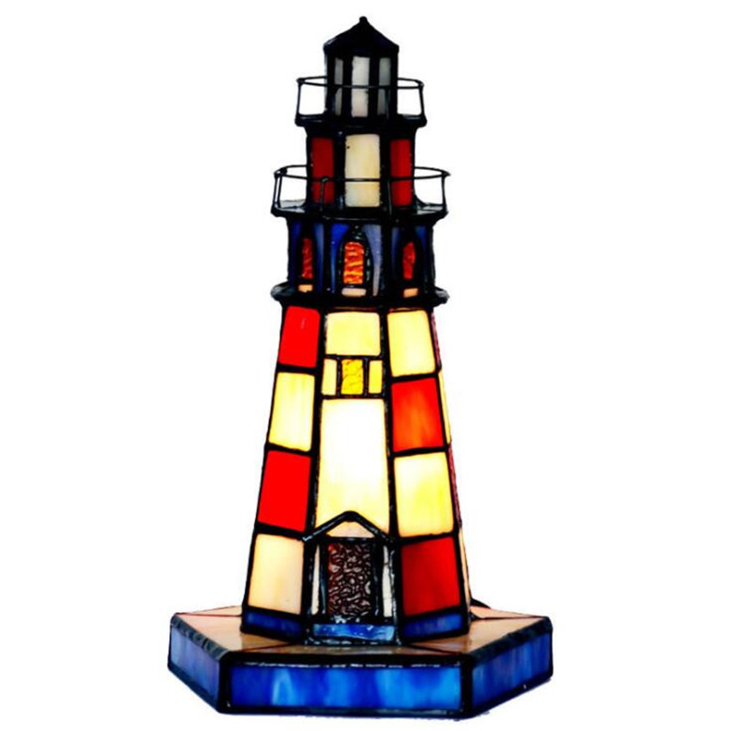Creative Vintage Handmade Colorful Glass Lighthouse Table Lamp for Foyer Bed Room Bar Apartment Glass Night Light H 26cm 1089