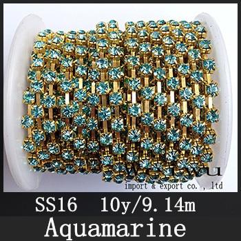 SS16 3.8-4.0mm 10 Yards Aquamarine Golden Base Sew On Strass Rhinestone Chain