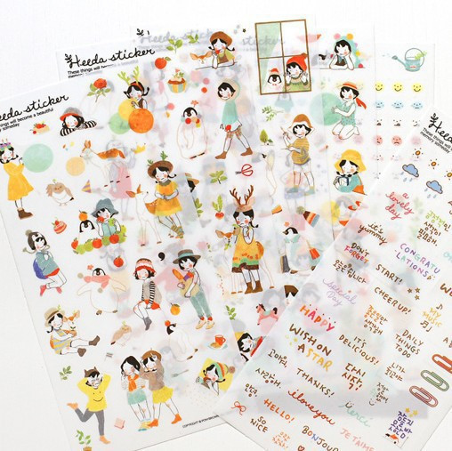 Office & School Supplies 6 Sheets Heeda Girls Pvc Sticker Korean Style Cute Kawaii Planner Stickers For Notebook Diary Deoration With Traditional Methods
