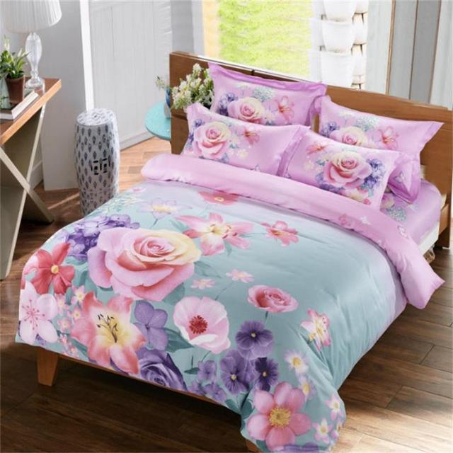 Bright Colored Rose Lily Poppy Flower Bedding Set Queen Size Duvet Cover Pillowcase Bed Sheets Cotton Fl Printed Bedroom