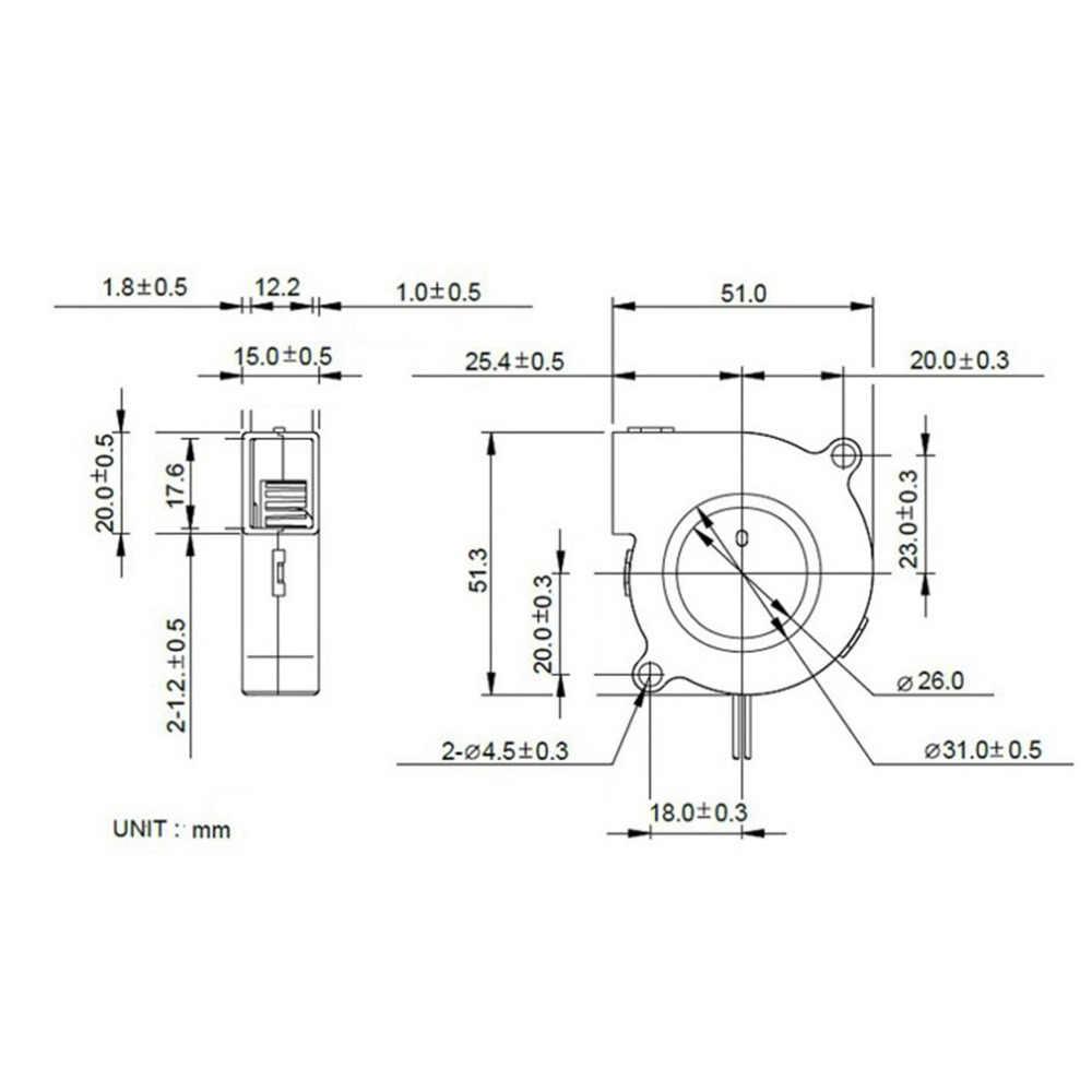 2 sztuk DC 12V Mini 3D drukarki wentylator chłodzący części promieniowe 5015 Turbo dmuchawy wentylator chłodzący do 3D drukarki