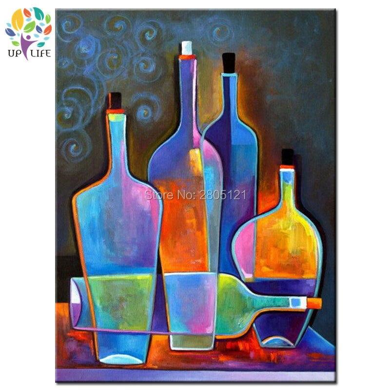 Peint à la main moderne encore vie peinture coloration lumineux bouteilles de vin toile photo salle à manger décoration murale art