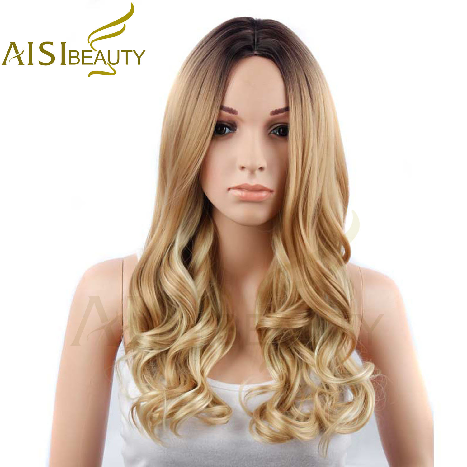 AISI BEAUTY 26 Long Wavy Ombre Yellow Brown Color Synthetic Hair Wigs for Women