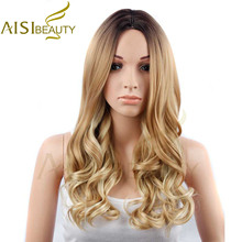"""Aisi красоты 26 """"Длинные Волнистые Ombre желто-коричневый Цвет Синтетические волосы Искусственные парики для Для женщин"""