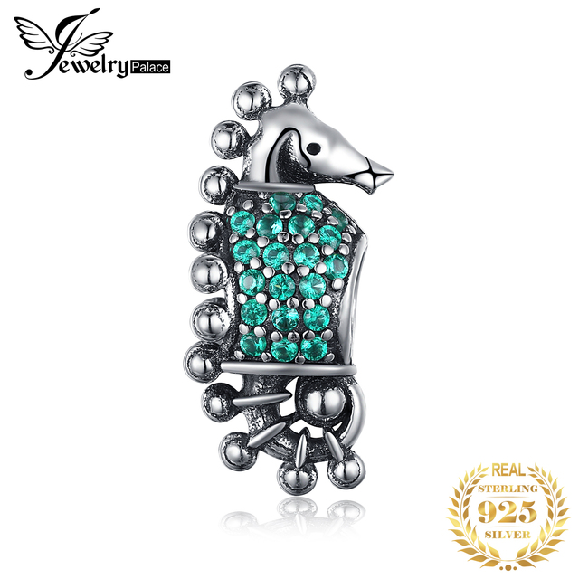 JewelryPalace 925 Sterling Silver Green Cubic Zirconia Sea Horse Charm Beads Fit Bracelets New Hot Sale For Women