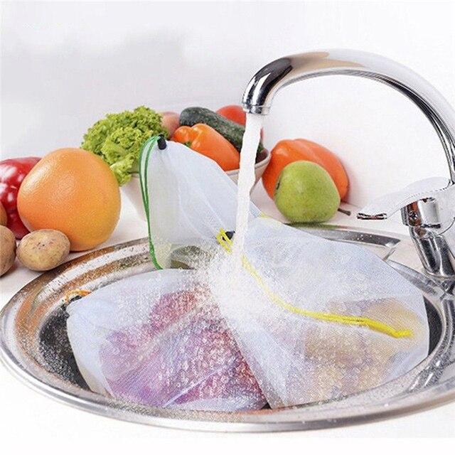 5pcs Lot Reusable Mesh Produce Bags Vegetable Fruit Toys Storage Pouch Black Rope Double