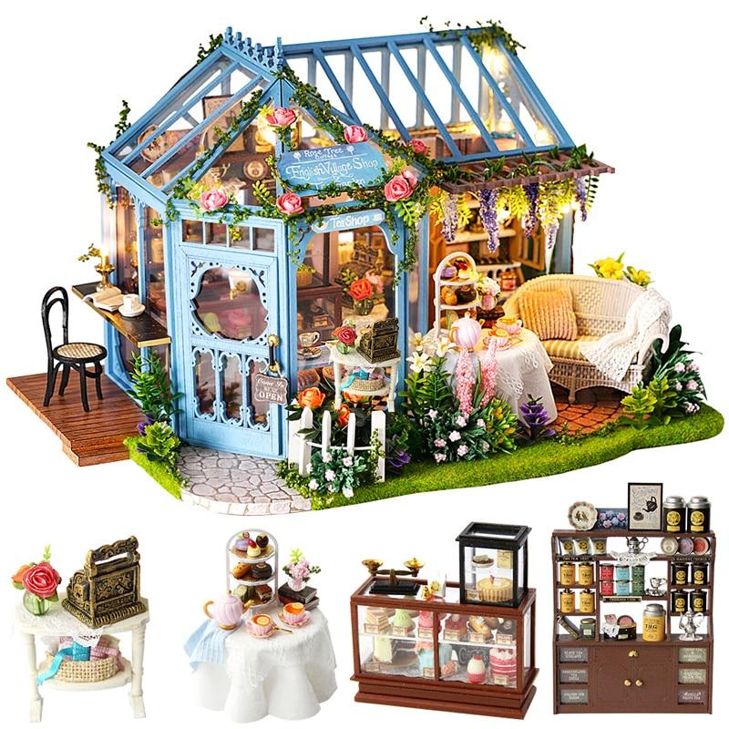 cutebee diy casa em miniatura com moveis led musica poeira capa modelo blocos de construcao brinquedos