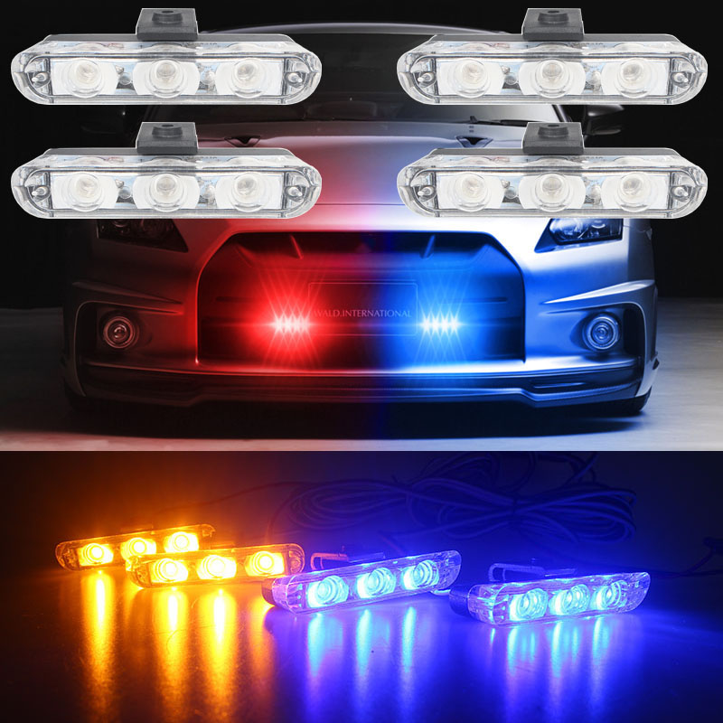 High Quality 4x3/led Ambulance Police light DC 12V Strobe Warning light for Car Truck Emergency Light Flashing Firemen Lights dc12v 24v 5730smd 72 led car truck strobe flashing emergency light beacon rescue vehicle ambulance police warning lights lamp