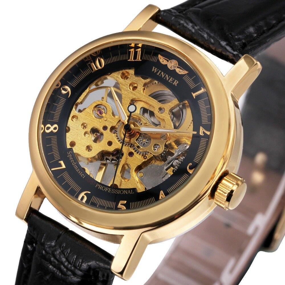 2017 Women Fashion Hand wind Mechanical Watch Leather Watchband Skeleton Dial WINNER Ladies Top Luxury Brand
