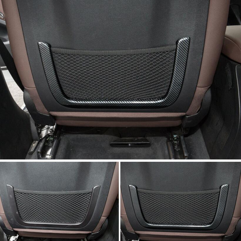 For BMW X3 2018 2PCS Carbon Fiber ABS Chrome Car Front Row Back Seat Net Bag Frame Cover Trim Moldings Car Styling Accessories