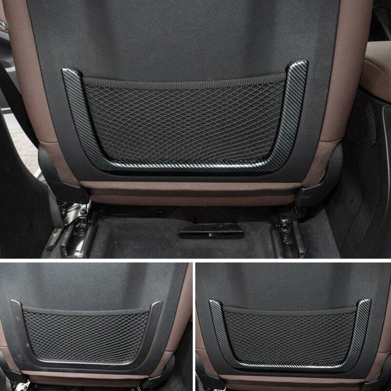 Pour BMW X3 2018 2 pièces fibre de carbone ABS Chrome voiture avant rangée arrière siège Net sac cadre couverture moulures voiture style accessoires