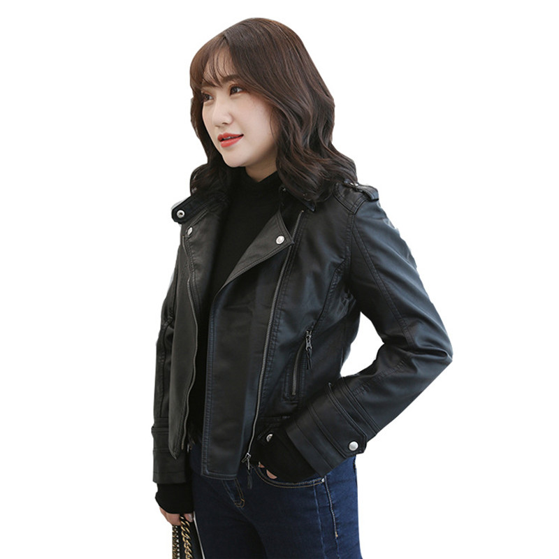 High quality PU   Leather   Short Jacket Women 2019 Spring Autumn Plus size XL-5XL Motorcycle   Leather   Coat Female Black Casual Tops