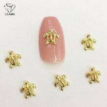 LEAMX 50 PCS/bag Hollow Out Tortoise Nail Decoration Sticker 3D Gold Shape Charm Alloy Art For Manicure Decor L450